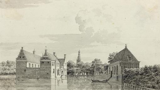 De borg in Farmsum in 1759, waar de familie Ripperda woonde. Afgebroken in 1812.