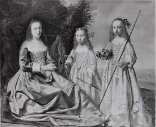 Bouwina Coenders met haar dochters Gratia (1630-1690) en Amelia (1633-1695), geschilderd door Jan Jansz de Stomme