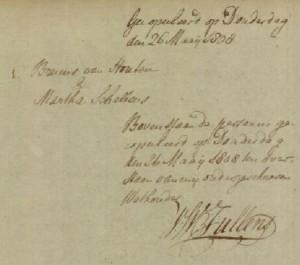 Groningen, 26 mei 1808, huwelijk Bruins van Houten en Martha Scheltens