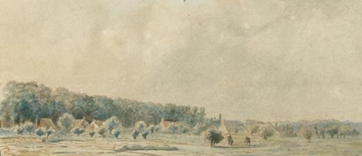 Het landschap buiten de Oosterpoort Groningen (1859).