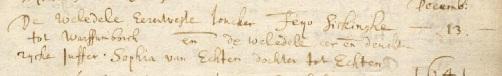 Warffum, 13 december 1640, huwelijk van Feijo Sickinghe en Sophia van Echten.
