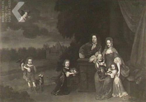 Louis Trip en Christina Trip met hun kinderen. Op deachtergrond de Warffumborg.