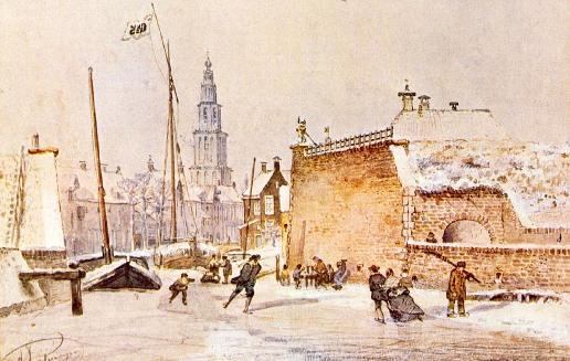 Winschoterdiep met Klein Poortje (1861) Aquarel van A.J. van Prooijen