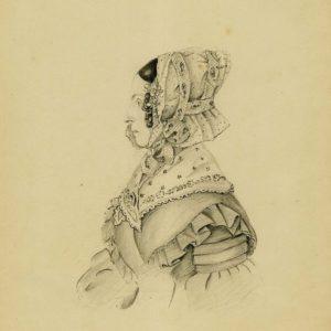 Henriette Guillaumine Jeanne Brockes, getekent door haar schoonzoon Wolter Gockinga in 1840. (afbeelding van de Groninger Archieven)