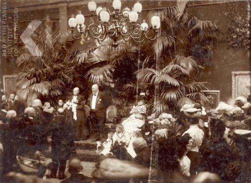 23 april 1906, huldiging van Hendrik Willem Mesdag en Stientje van Houten ter gelegenheid van hun 50-jarig huwelijk in de Pulchri Studio, Den Haag