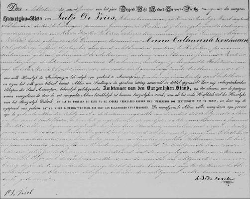 Antwerpen, 8 juni 1842. De huwelijksakte van Luitje de Vries en Anna Catharina Verschueren. Alleen Luitje ondertekent de akte. Anna kan niet schrijven.