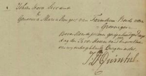 Groningen, 24 juli 1810. huwelijk Johan Hora Siccama en Genoveva Maria Rengers