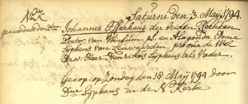 Huwelijk Johannes Offerhaus en Alegonda Edonia Sijpkens in de Nieuwe Kerk Groningen