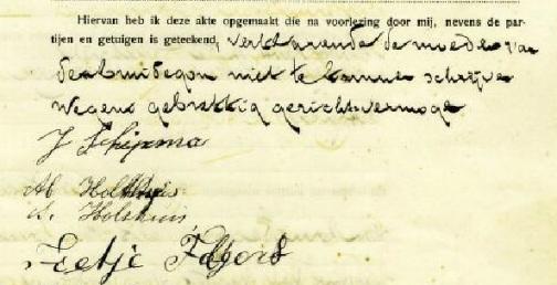 Baflo, 6 mei 1922 Op de huwelijksakte van Jan en Martje staat vermeld dat de moeder van Jan, Berendje Moltmaker,  niet kan tekenen wegens gebrekkig gezichtsvermogen.