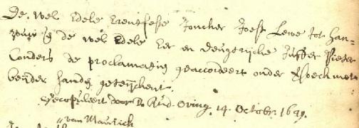 Groningen, 14 oktober 1649 Huwelijksakte Joost Lewe en Pieternella Coenders