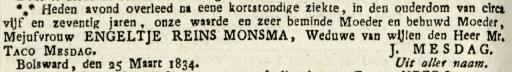 Leeuwarder Courant, 28 maart 1834