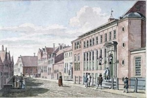 Het Ommelanderhuis in Groningen in 1786, de plek waar Upmeijer in is geboren.  Zijn vader was hier waarschijnlijk (aquarel van J. Bulthuis)