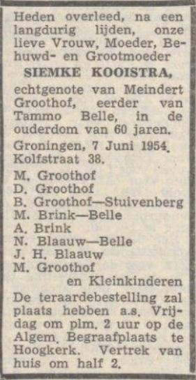 Nieuwsblad van het Noorden, 8 juni 1954