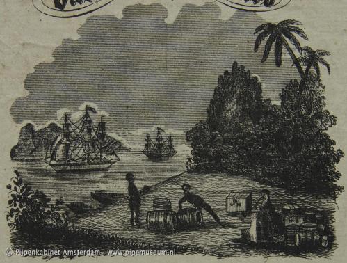 """Detail van het vignet met zeilschepen en op de ton de letters """"BVH""""."""