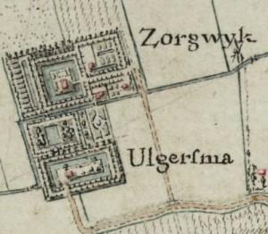 De borgen Zorgwijk (afgebroken in 1872) en Ulgersma (afgebroken in 1787)